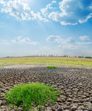 Drought earth under cloudy sky. Global warming Royalty Free Stock Images