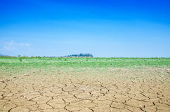 Drought land against a blue sky Stock Photo