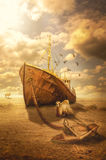 Drought. Ships of the desert (illustration of a fictional situation, in the form collage of photos Stock Images
