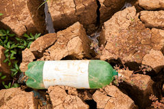 Drought soil with garbage Stock Images
