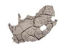 Drought in South Africa. Silhouette of South Africa. Map is fulfilled with image of dry land. Metaphor of catastrophic climate changes in area - droughts royalty free stock images
