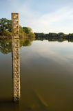 Drought warning. Welford reservoir is so empty a measuring pole is fully revealed royalty free stock images