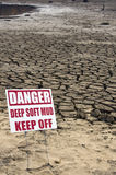 Drought Warning. A long term drought in the Southern U.S. prompts a warning in a dried lake bed Royalty Free Stock Images