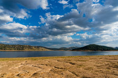 Drought at Wyangala Dam, Lachlan Valley, NSW. Drought at Wyangala Dam. Beautiful Australian lake on drought with dry soil exposed Stock Photo