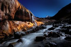 Color waterfall of Qilian Mountain stock images