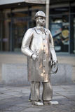 Drover Metal Statue in Carmarthen, Wales. The metal farm sculptures called The Drover in Carmarthen town centre, Carmarthenshire, Wales.  This is a landmark in Stock Photography