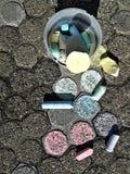 Drowing met kleurrijk krijt Stock Foto's