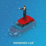 Drowned car. A car accident drowned. Flat 3d vector isometric illustration. Stock Photography