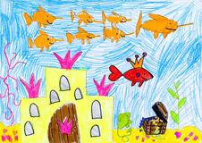 Drowned castle and treasure. child drawing. Drowned castle and treasure. childs drawing Stock Photo