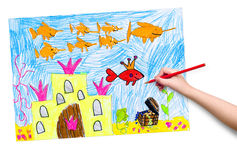 Drowned castle and treasure. child drawing. Royalty Free Stock Images