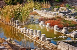 Drowned columns in Letoon near the ancient Lycian city Xanthos, Turkey. Drowned columns in Letoon - sanctuary of Leto goddess near the ancient Lycian city stock photo