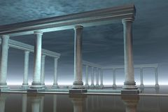 Drowned Greek Temple Ruin in the Moonlight Stock Images