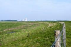 Drowned Land of Saeftinghe. Landscape at Drowned Land of Saeftinghe with nuclear power plant in background stock image