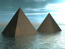 Drowned pyramids. The Drowned pyramids. Fantasy, illustration Stock Photo