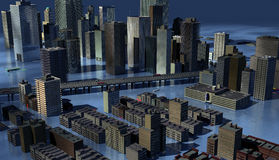 The Drowned World. Urban Centre submerged with rising sea levels Royalty Free Stock Image
