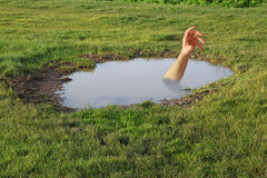 Drowning arm in puddle Royalty Free Stock Photos