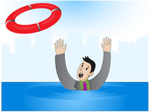Drowning Businessman. Vector illustration of a businessman who drowns, but he was thrown a lifeline Royalty Free Stock Images