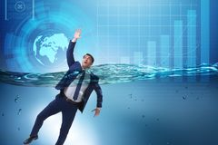 The drowning businessman in insolvency and bankruptcy concept. Drowning businessman in insolvency and bankruptcy concept Stock Photography