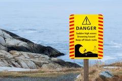 Drowning Danger Sign. Drowning hazard sign at Peggys Cove, Nova Scotia royalty free stock photo