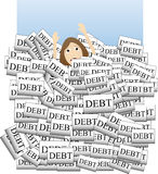 Drowning in Debt. Person sinking down overcome by too m Royalty Free Stock Photo