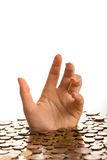 Drowning in debt concept Stock Image