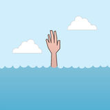 Drowning Hand Reaching. Drowning and reaching out hand for help Stock Photography