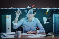 Drowning in job Stock Photos