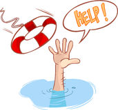 Drowning and lifeline. A vector image (drowning and lifeline Stock Image