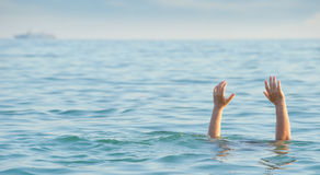 The drowning man. The man in water asks about the help Stock Photography
