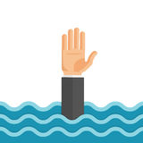 Drowning Man Flat Vector Illustration. Flat style vector concept illustration of drowning man reaching out hand for help Royalty Free Stock Images
