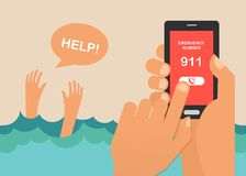 Drowning man screaming for help. hands press emergency number 911 on a mobile phone. Vector illustration Stock Photos