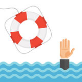 Drowning Man in Sea and Lifebuoy Flat Vector Illustration Stock Photos