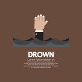 Drowning Man Showing His Hand Over The Water Stock Photo