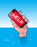 Drowning man with Smartphone in Hand. With HELP signal on screen Stock Image