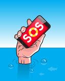 Drowning man with Smartphone in Hand. With SOS signal on screen Stock Images