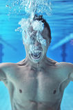 Drowning man underwater diver Stock Photography