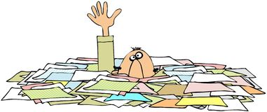 Drowning In Paperwork royalty free illustration