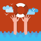 Drowning person holds lifebuoy Royalty Free Stock Photo