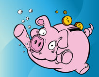 Drowning Piggy Bank Royalty Free Stock Image