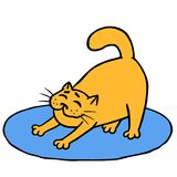 Drowsy cute orange cat does morning exercises on rug. Vector illustration Royalty Free Stock Photo