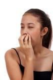 Drowsy female yawning Stock Photo