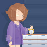 Drowsy girl waking up in the morning, Cartoon illustration Royalty Free Stock Images