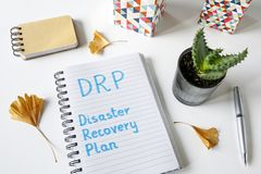 DRP Disaster Recovery Plan written in a notebook royalty free stock photo