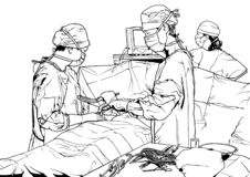 Drużyn lekarki w sali operacyjnej royalty ilustracja