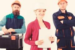 Drużyna budowniczego pojęcie Drużyna architekci, budowniczowie, robotnicy obraz stock