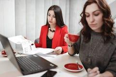 Drużyna dwa młodych kobiet projektant pracuje przy projekta projektem wewnętrzny obsiadanie przy biurkiem z laptopem i zdjęcie stock