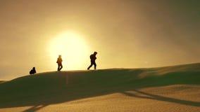 Drużyna podróżnicy podąża each inny wzdłuż śnieżnej grani przeciw tłu żółty zmierzch coordinated praca zespołowa turyści zdjęcie wideo