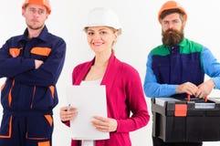 Drużyna budowniczego pojęcie Drużyna architekci, budowniczowie, robotnicy obraz royalty free