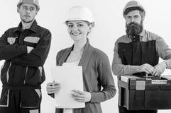 Drużyna budowniczego pojęcie Drużyna architekci, budowniczowie, robotnicy obrazy stock