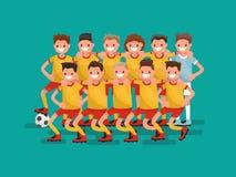 Drużyna futbolowa Jedenaście graczów wpólnie również zwrócić corel ilustracji wektora royalty ilustracja
